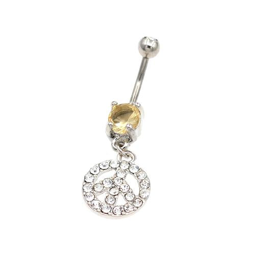 Clear Gem Peace Sign Belly Button Ring - TSZjewelry