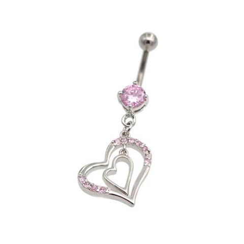 Pink CZ Double Heart Dangling Belly Rings