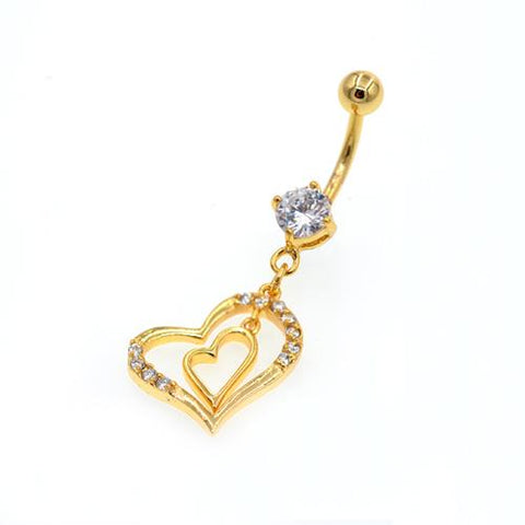 Clear CZ Double Heart Gold Belly Button Rings - TSZjewelry