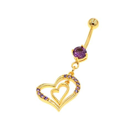 Purple Double Heart Gold Belly Button Rings