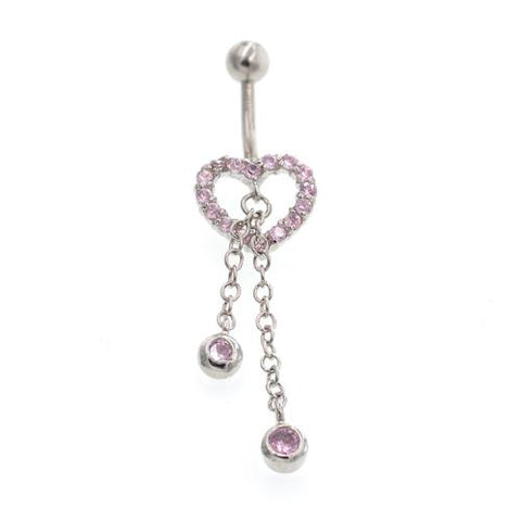 Pink Non Dangled Heart Belly Button Rings - TSZjewelry