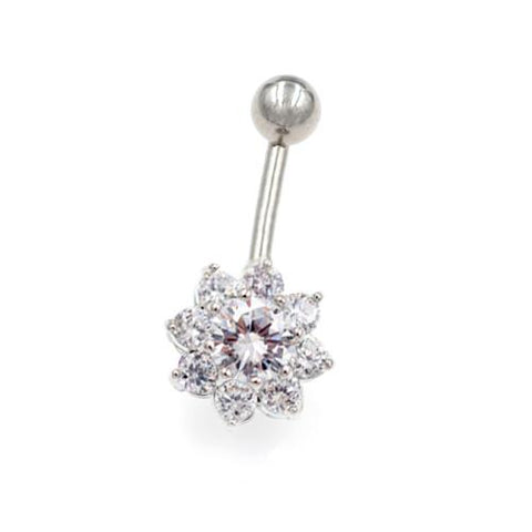 Clear CZ Sunburst Flower Belly Buton Rings - TSZjewelry
