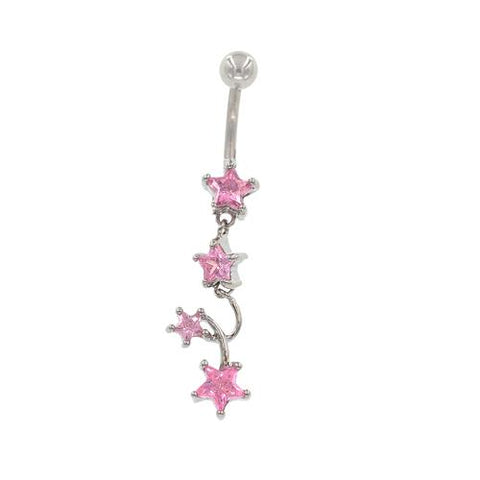 Pink CZ 4 Star Non Dangled Belly Rings