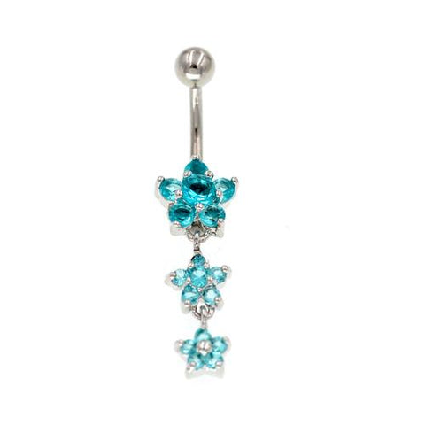 Aqua CZ Star Flower Non Dangled Belly Rings - TSZjewelry