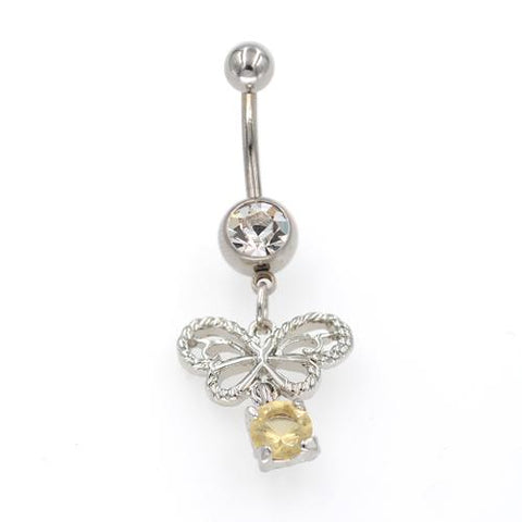 Clear Gem Hollow Butterfly Belly Button Rings - TSZjewelry