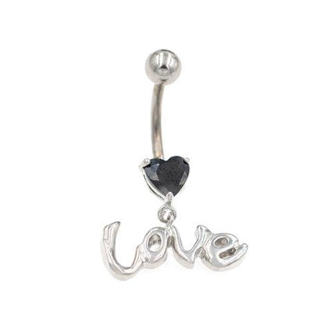 Horizontal Love String Pink Gem Belly Rings