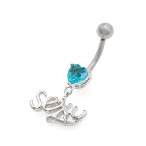 Aqua Gem Sexy Letter String Belly Rings