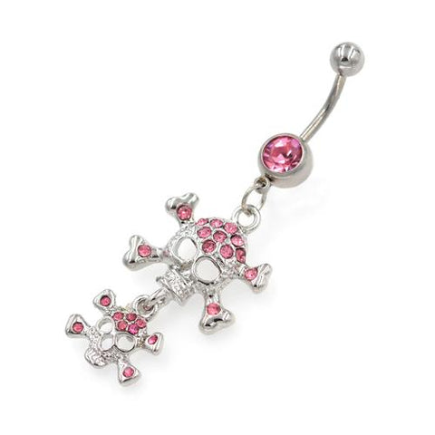 Double Pink Gem Skull Belly Button Rings - TSZjewelry