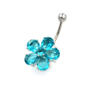 Aqua Gem Hawaiian Flower Belly Button Rings - TSZjewelry