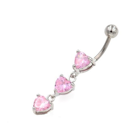 Pink CZ  Triple Heart Belly Button Rings