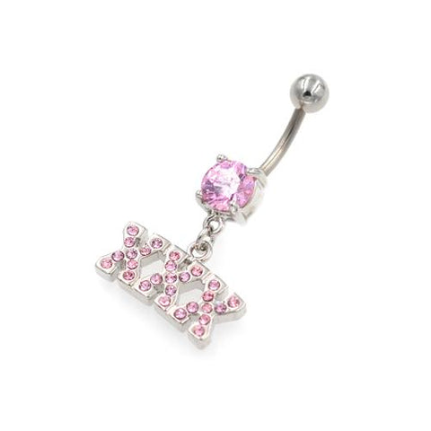 Pink Gem X Letter String Belly Button Rings