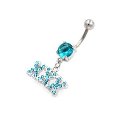 Aqua Gem X Letter String Belly Button Rings - TSZjewelry