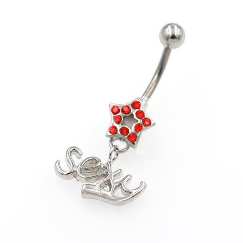 Red Gem Star Dangling Letter String Belly Rings - TSZjewelry