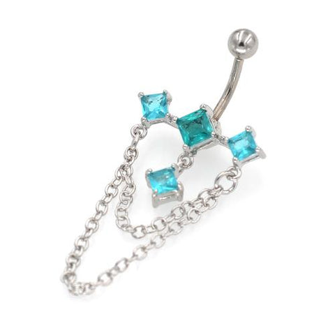 Aqua CZ Triple Rhombus Chandelier Belly Rings - TSZjewelry