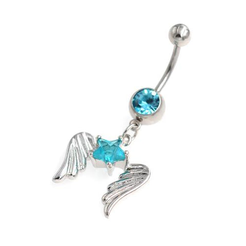 Aqua Gem Star Star Angels Belly Button Rings - TSZjewelry