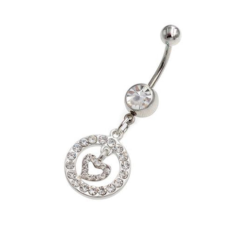 Clear Gem Heart Inside Circle Belly Button Rings - TSZjewelry