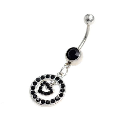 Black Gem Heart Inside Circle Belly Button Rings - TSZjewelry