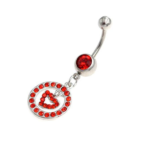 Red Gem Heart Inside Circle Belly Button Rings - TSZjewelry