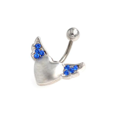Blue Gem Heart Angel Wings Belly Button Rings - TSZjewelry