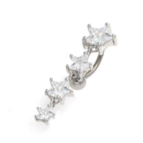 Clear Gem Star Drop Top Down Belly Button Rings - TSZjewelry