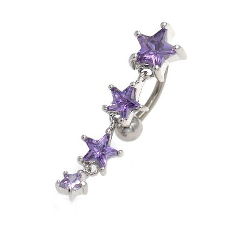 Purple Gem Star Drop Top Down Belly Button Rings - TSZjewelry