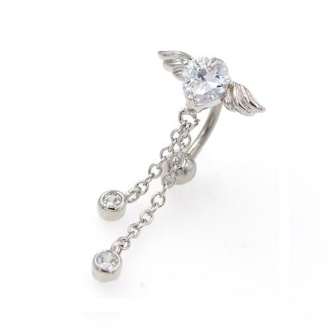 Clear CZ Heart Angel Wings Top Down Belly Rings - TSZjewelry