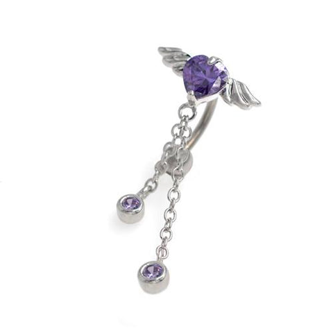 Purple CZ Heart Angel Wings Top Down Belly Rings - TSZjewelry