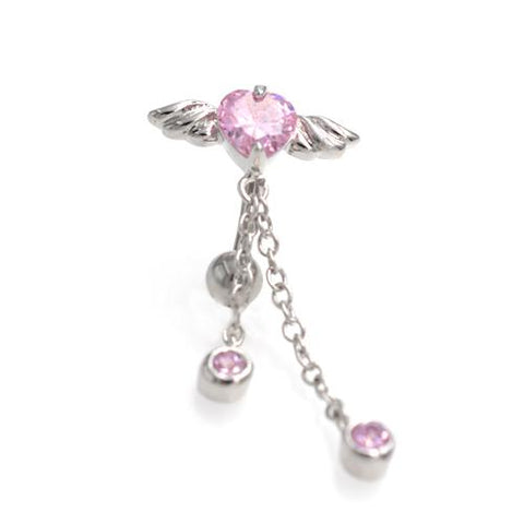 Pink CZ Heart Angel Wings Top Down Belly Rings - TSZjewelry