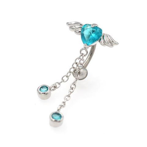 Aqua CZ Heart Angel Wings Top Down Belly Rings - TSZjewelry