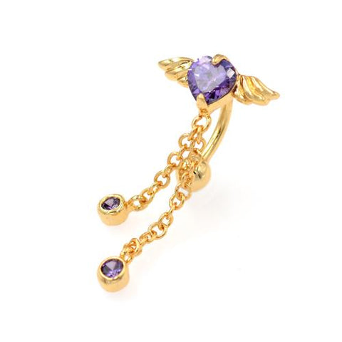 Gold Purple CZ Heart Angel Wings Top Down Belly Rings - TSZjewelry