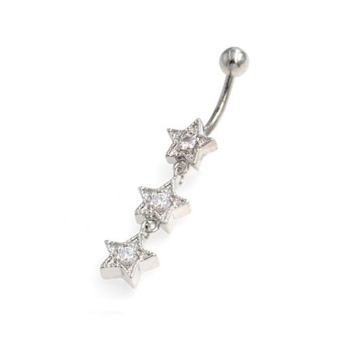 Clear Gem Three Star Non Dangling Belly Rings - TSZjewelry