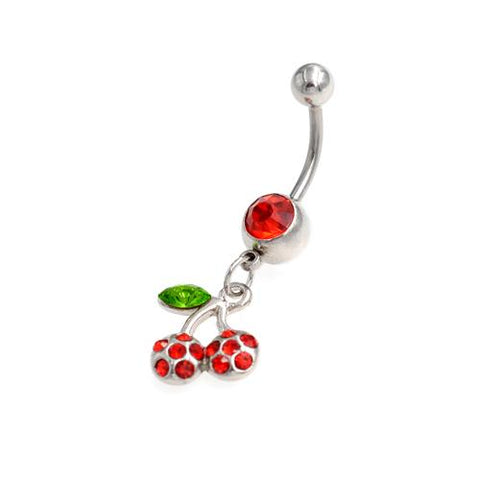 Red Gem Dangling Cherry Belly Button Rings - TSZjewelry