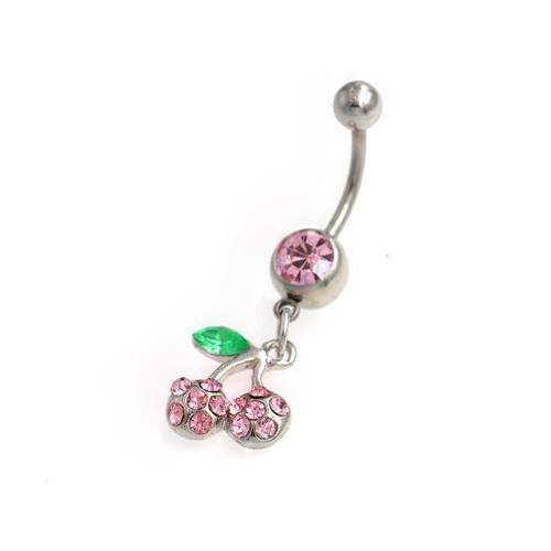 Pink Gem Dangling Cherry Belly Button Rings - TSZjewelry