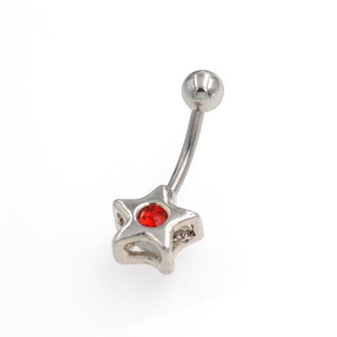 Non Dangling Star Red Centre Belly Button Rings - TSZjewelry
