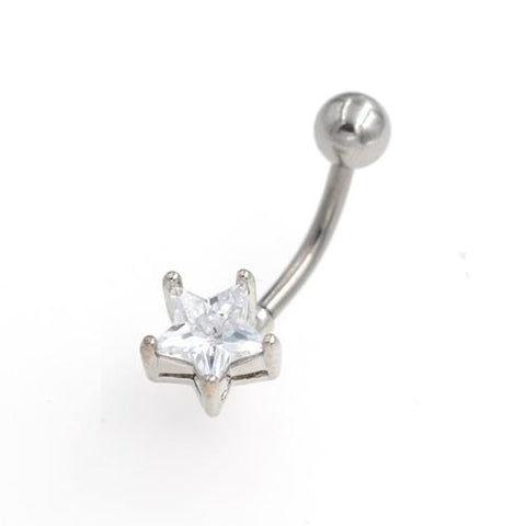 Clear CZ Star Non Dangling Belly Button Rings - TSZjewelry