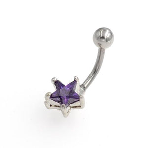 Purple CZ Star Non Dangling Belly Button Rings - TSZjewelry