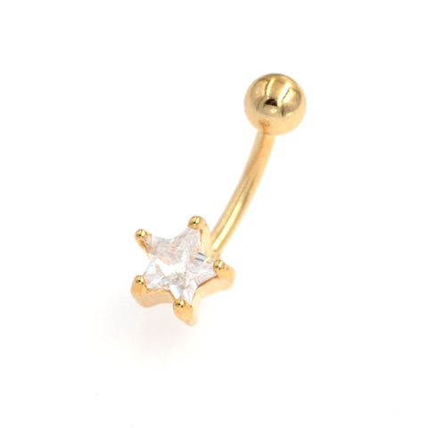 Gold Clear CZ Star Non Dangling Belly Button Rings - TSZjewelry