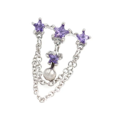 Purple Gem Triple Star Top Down Bell Button Rings - TSZjewelry