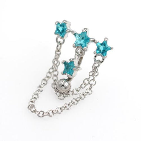 Aqua Gem Triple Star Top Down Bell Button Rings - TSZjewelry