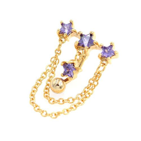 Purple Gem Gold Triple Star Top Down Bell Rings - TSZjewelry