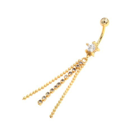 Clear Gem Gold Star Chandelier Belly Button Rings - TSZjewelry