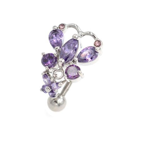 Purple Gem Butterfly Top Down Belly Button Rings - TSZjewelry