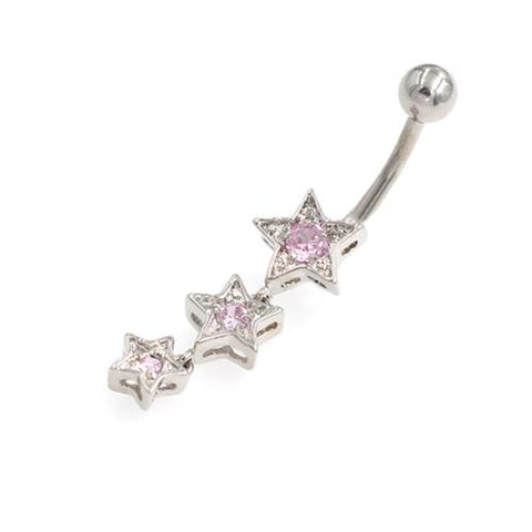 Descending Order Pink Gem Stars Belly Rings - TSZjewelry