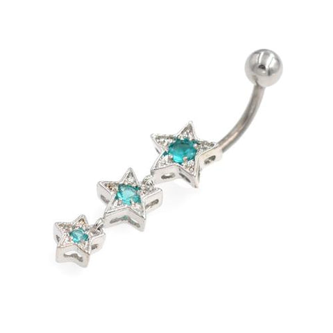 Descending Order Aqua Gem Stars Belly Rings - TSZjewelry