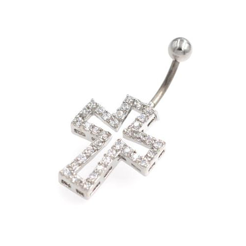 Crystaline Hollow Cross Non Dangling Belly Rings - TSZjewelry