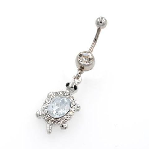 Clear Gem Dangling Tortoise Belly Button Rings - TSZjewelry