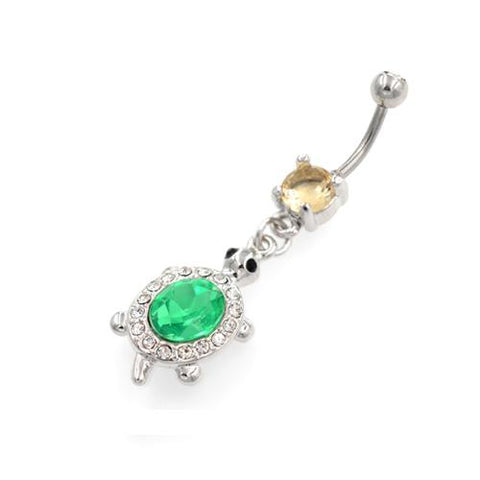 Green and Clear Dangling Tortoise Belly Rings - TSZjewelry