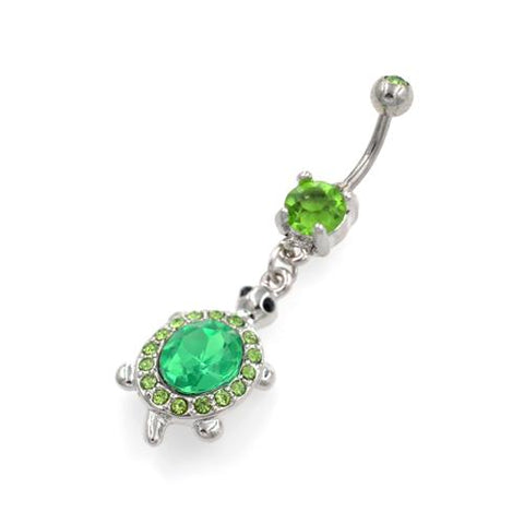 Green Dangling Tortoise Belly Button Rings - TSZjewelry
