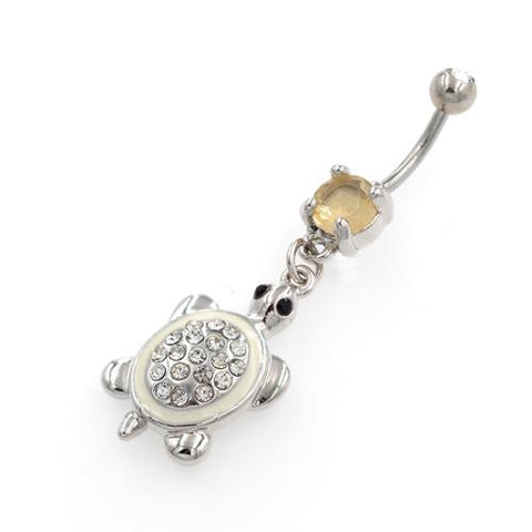 White Tortoise Dangling Belly Button Rings - TSZjewelry