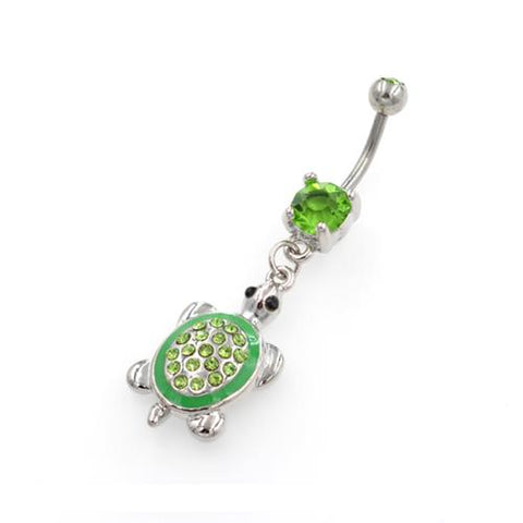 Green Tortoise Dangling Belly Button Rings - TSZjewelry